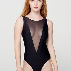 American Apparel Black Gloria V Mesh Swimsuit